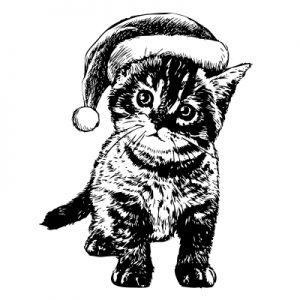 cartoon kitten in Christmas hat